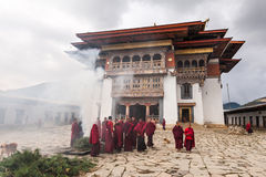 在Gangtey修道院的灼烧的草本 免版税库存图片