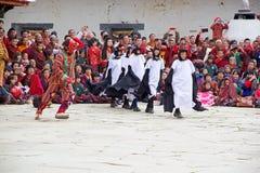 在Gangtey修道院的黑收缩的起重机舞蹈, Gangteng,不丹 免版税库存图片