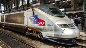 在Gare du Nord的TGV TMST在巴黎在法国 库存照片