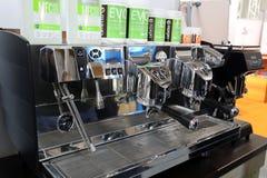 在Gastrofood -食物的承办宴席的商品交易会和饮料的咖啡机器在克拉科夫 波兰 免版税库存照片