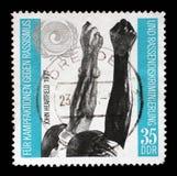 在GDR打印的邮票致力奋斗反对种族主义 免版税库存照片