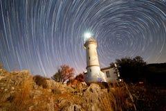 在Gelidonya海角的灯塔在夜间 库存图片