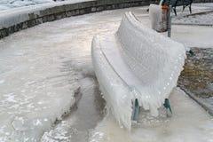 在Geneva湖瑞士的冬天 免版税图库摄影