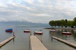 在Geneva湖的Ouchy口岸在洛桑,瑞士 库存图片