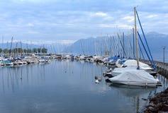 在Geneva湖的Ouchy口岸在洛桑,瑞士 免版税库存图片