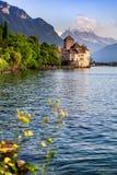 在Geneva湖,瑞士的Chillon城堡 免版税库存图片