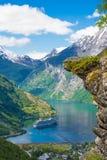 在Geranger海湾,挪威的Flydalsjuvet 免版税库存照片