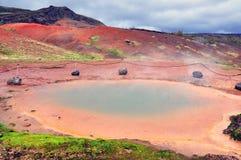 在Geysir附近的地热区域 免版税库存照片