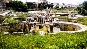 在Ggantija寺庙的概要 免版税库存图片
