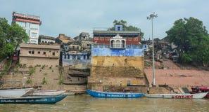 在ghat的早晨视图在瓦腊纳西 库存照片