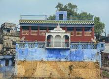 在ghat的早晨视图在瓦腊纳西 图库摄影