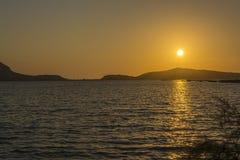 在Gialova盐水湖, Messinia,希腊的日落 库存图片