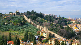在Giardino巴尔迪尼庭院和墙壁上看法  免版税图库摄影