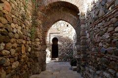 在Gibralfaro山的Alcazaba城堡 马拉加,安大路西亚,西班牙 免版税库存照片