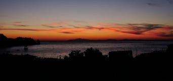 在Giglio Campese,托斯卡纳意大利上的日落 免版税图库摄影