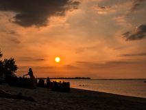 在Gili空气,印度尼西亚的日落 库存图片