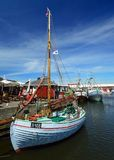 在Gilleleje港口的渔船 免版税库存照片