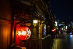 在Gion街道的灯从京都日本 库存照片