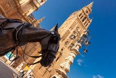 在Giralda,塞维利亚,西班牙附近的马支架 免版税库存照片