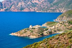 在Girolata城堡视图的视图 免版税库存图片