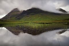 在Glencoe苏格兰,英国的反射 库存照片
