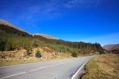 在Glenshiel森林,苏格兰附近的路 库存照片