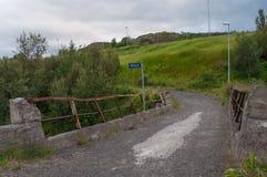 在Glera河的一座老桥梁在冰岛 免版税库存图片