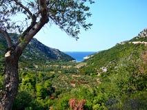 在Glisteri海滩的Skopelos外型 免版税库存照片