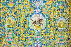 在Golestan ` s装饰,德黑兰的狩猎场面 免版税库存图片