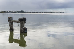 在Goolwa,南澳大利亚-风景取向的停泊岗位 图库摄影