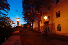 在Gornji毕业的秋天晚上在萨格勒布 免版税库存照片