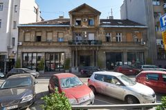 在Gospodar Jevremova街道上的老房子 库存照片