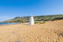 在Gozo,马耳他的北边Ramla海滩 库存照片