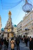 在Graben,维也纳奥地利的圣诞节装饰 免版税图库摄影