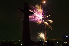 在Gradowa小山的壮观的新年` s伊芙烟花显示在格但斯克 库存图片