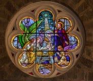 在Gramado的圣皮特教会彩色玻璃 库存图片