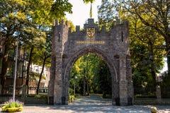 在Groeningepark的Groeningefield门在科特赖克,富兰德,比利时 库存图片
