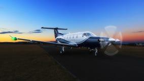 在groun的蓝色涡轮螺旋桨发动机航空器 免版税库存图片