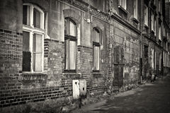 在Grudziadz的老砖结构 库存图片