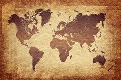 在grunge背景的世界地图 图库摄影
