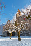 在Gruyeres前面城堡的积雪的树  免版税库存图片