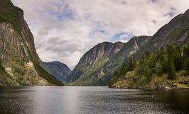 在Gudvangen的Aurlandsfjord在挪威 免版税库存照片