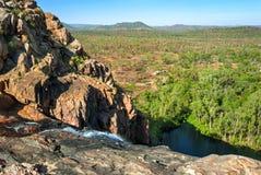 在Gunlom监视附近的卡卡杜国家公园(北方领土澳大利亚)风景 免版税库存图片