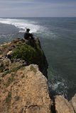在Gunungkidul,日惹,印度尼西亚的美好的日落 免版税库存照片