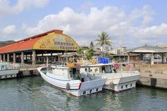 在gushan轮渡码头的游艇 库存照片