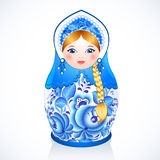 在Gzhel样式的俄国传统传染媒介玩偶 免版税库存照片