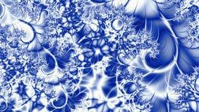 在gzhel样式的俄国装饰品框架绘与在白色抽象分数维背景的蓝色 库存照片