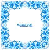 在gzhel样式的蓝色花卉葡萄酒框架 库存图片