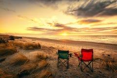 在Haast海滩的假期在新西兰的南岛 免版税图库摄影