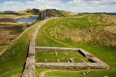 在Hadrians墙壁上的Milecastle 39 免版税库存照片